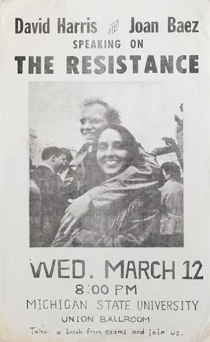 BAEZ, JOAN and DAVID HARRIS. 1915-1982. Davis Harris and Joan Baez Speaking on The Resistance. c.1968.