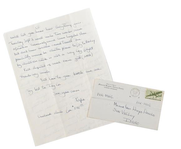 "HEMINGWAY, ERNEST. 1899-1961. Autograph Letter Signed (""Papa""), 2 pp, 220 x 280 mm, August 25, 1946,"
