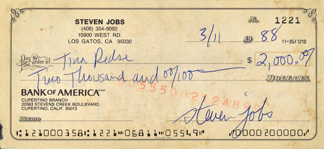 "JOBS, STEVE. 1955-2011. Check Signed (""steven jobs""), 2 3/4 by 6 inches, paid to the order of Tina Redse in the amount of $2,000,"