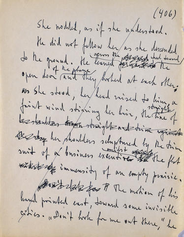 RAND, AYN. 1905-1982. Autograph Manuscript, 1 p, 4to, [New York], 1950s, being p 406 of the working manuscript of Atlas Shrugged,