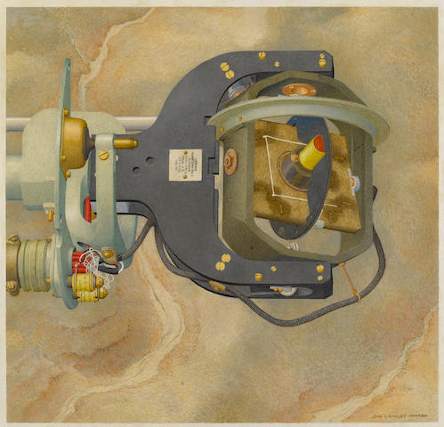 "HOWARD, JOHN LANGLEY. 1902-1999. Magnetometer, 1958. Oil on masonite, 15 3/4 x 16 1/4 inches, signed (""John Howard Langley"") at lower right corner,  titled on verso."