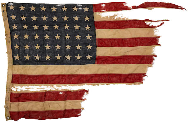 D-Day: A 48 star American Flag, flown from LCT-703, sunk on Omaha Beach. American, 1944.