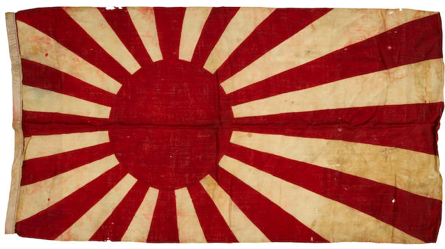 Japanese Imperial Navy flag, presented to commander Robert Morris in Tokyo Bay at the time of the Surrender Signing.  [Tokyo Bay, September 1945.]