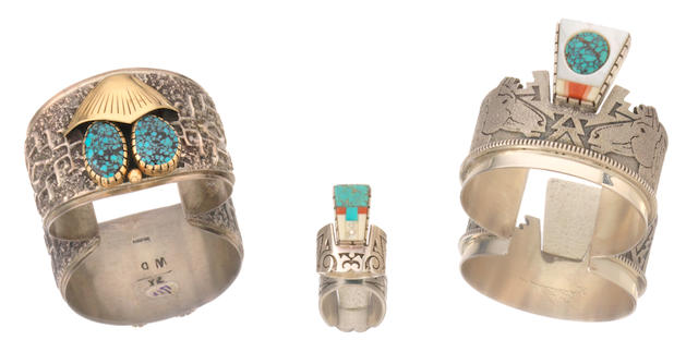 Three Navajo jewelry items