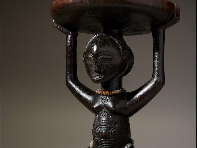 Superb Luba Female Caryatid Stool, Democratic Republic of the Congo