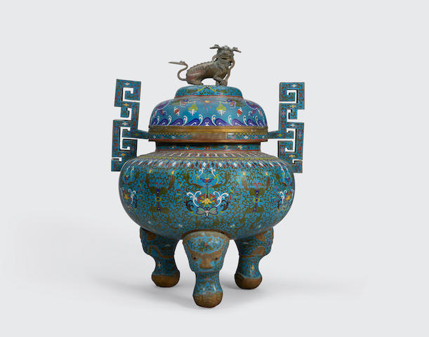 A cloisonné enameled censer and cover  Qianlong mark, late Qing/Republic period