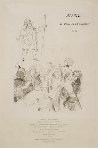Henri de Toulouse-Lautrec (1864-1901); Le Suisse, Menu;