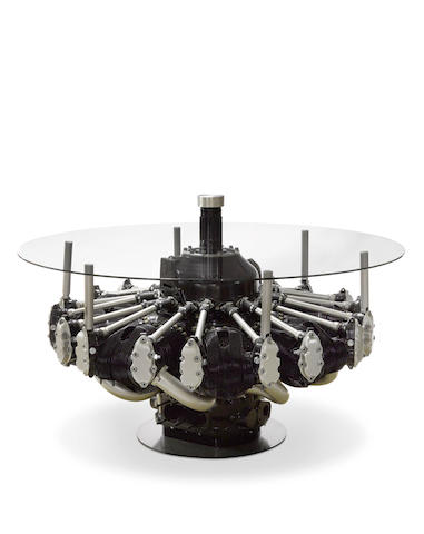 B-17 ENGINE FASHIONED INTO A MODERN TABLE. American, c.1940
