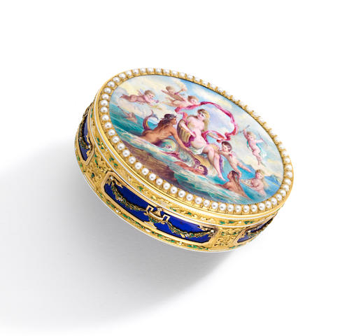 A fine and rare Louis XVI gold and enamel presentation snuff box,  Jacques-Felix Vienot, enamel signed by Jacques Thouron,