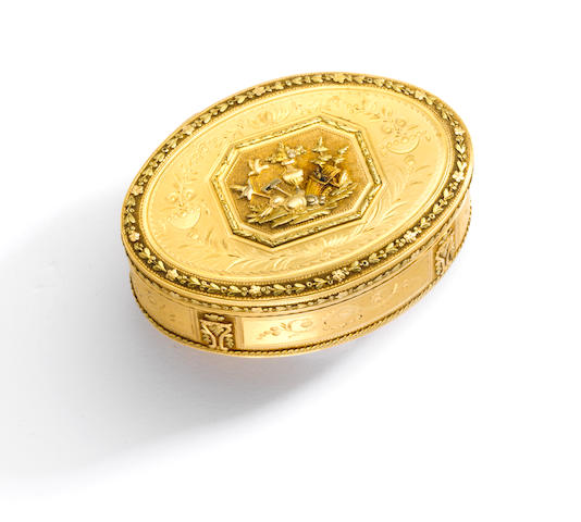 A tri-colored gold snuff box, Jean-Georges Rémond & Company, Geneva,
