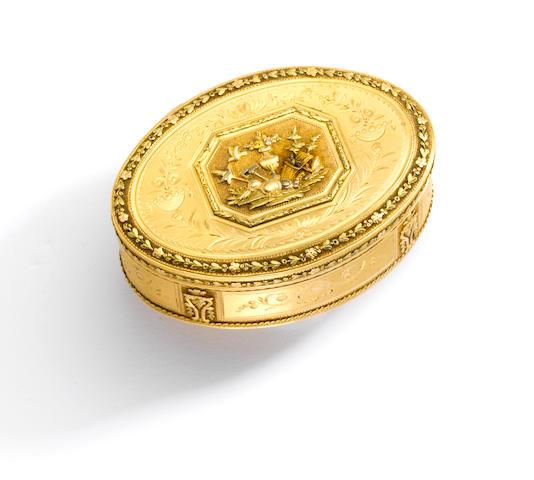 A tri-colored gold snuff box, Jean-Georges Rémond & Company, Geneva,