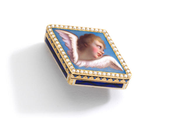 A fine gold, enamel and seed pearl vinaigrette, Georges Rémond & Cie, Geneva,