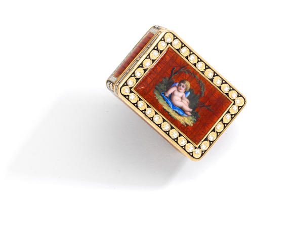 A fine gold and enamel miniature snuff box, Moulinié Bautte & Cie, Geneva,