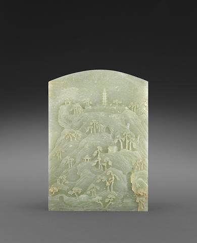 A FINE PALE GREENISH-WHITE JADE SCREEN WITH CARVED LANDSCAPE  18th/19th century