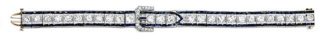 An Art Deco diamond and sapphire bracelet,