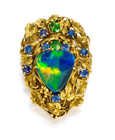 A black opal, sapphire and demantoid brooch, Louis Comfort Tiffany, Tiffany & Co.