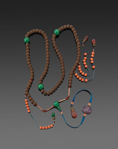 An incised wood and semi-precious stone beaded necklace  Qing dynasty elements