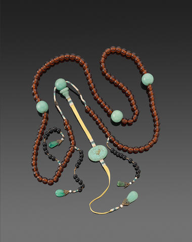 A beaded glass necklace