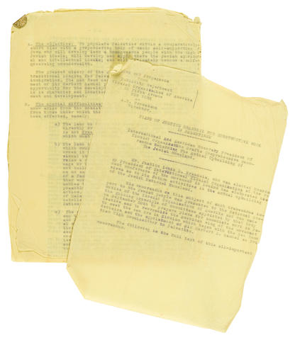 """BRANDEIS, LOUIS D. 1856-1941. Typed Manuscript, carbon copy, Plans of Justice Brandeis for Constructive Work in Palestine, containing what is likely the first printed appearance the whole of Louis D. Brandeis's """"Zeeland Memorandum"""","""