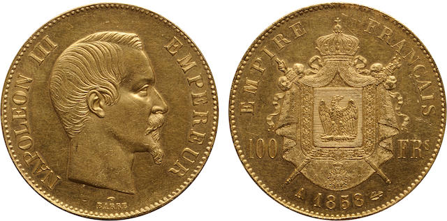 France, Napoleon III, Gold 100 Francs, 1858-A, MS61 PCGS