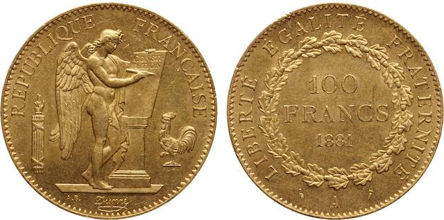 France, 100 Francs, 1881-A, MS63 PCGS