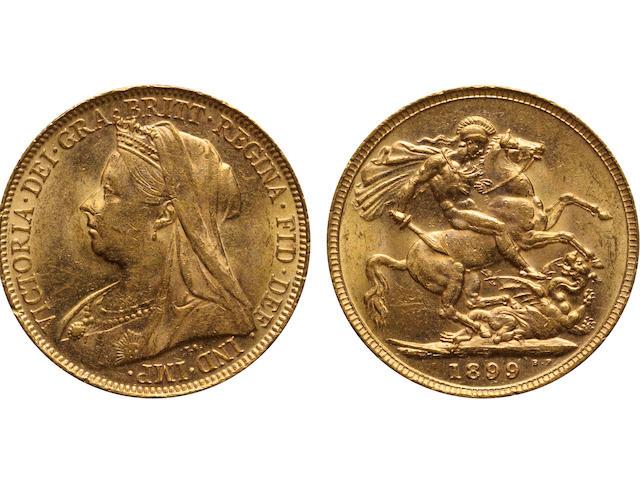 "Australia, Victoria, Sovereign, 1899-P, Veiled ""Old"" Head, MS62 PCGS"
