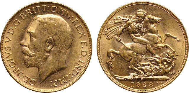 Australia, George V, Sovereign, 1928-P, MS63 PCGS