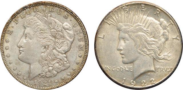1921 Morgan, 1922 Silver Dollars Framed