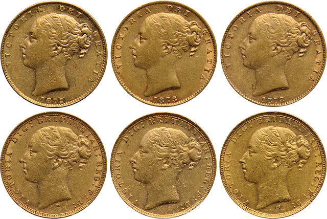 Great Britain, Victoria, Gold Sovereigns (6)