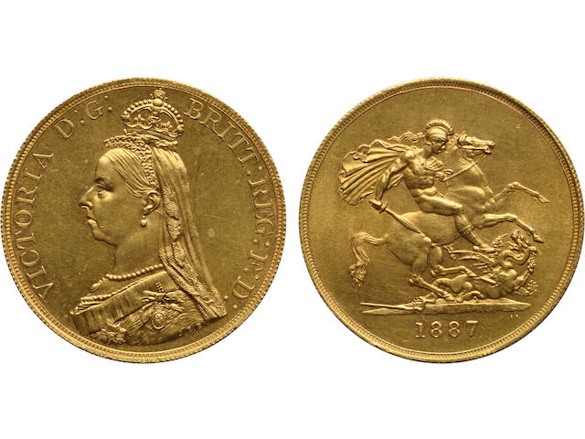 "Great Britain, Victoria, ""Jubilee Head"" Gold 5 Pounds, 1887, Proof"