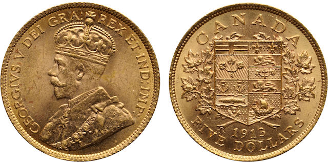 Canada, George V, Gold 5 Dollars, 1913