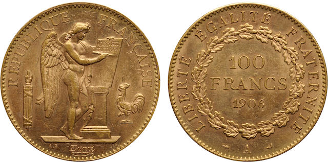 France, Republic, Gold 100 Francs, 1906-A.