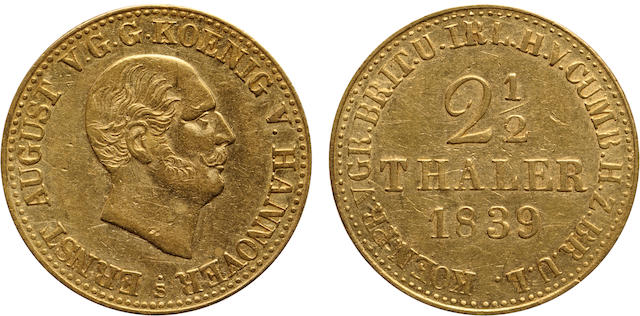 German States, Hannover, Ernst August, Gold 2 1/2 Thaler, 1839-S