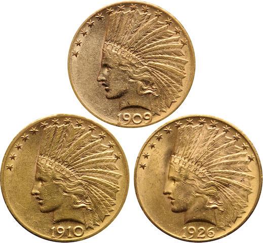 1909-D, 1910-D, 1926 $10