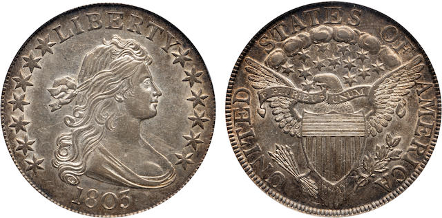 1803 Small 3 50C AU55 PCGS. CAC Sticker