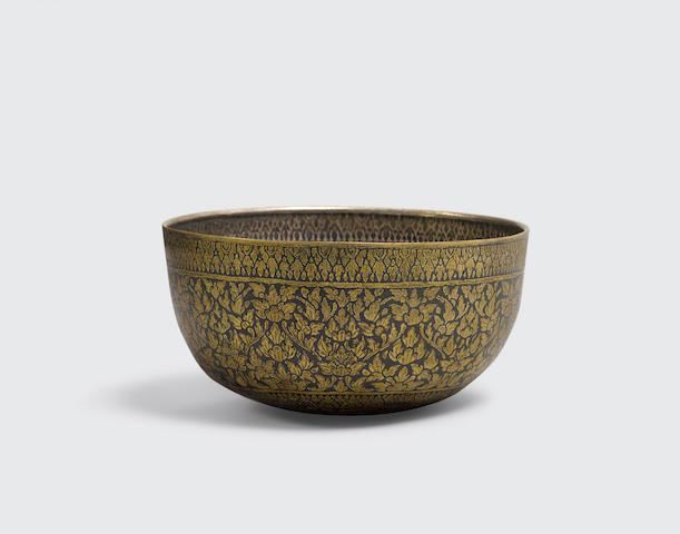 A niello ware bowl  Thailand 19th/20th century