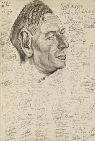 Goldberg, Rube. 1883-1970. Original drawing on board by Vincent Zito, being a large caricature of Goldberg,