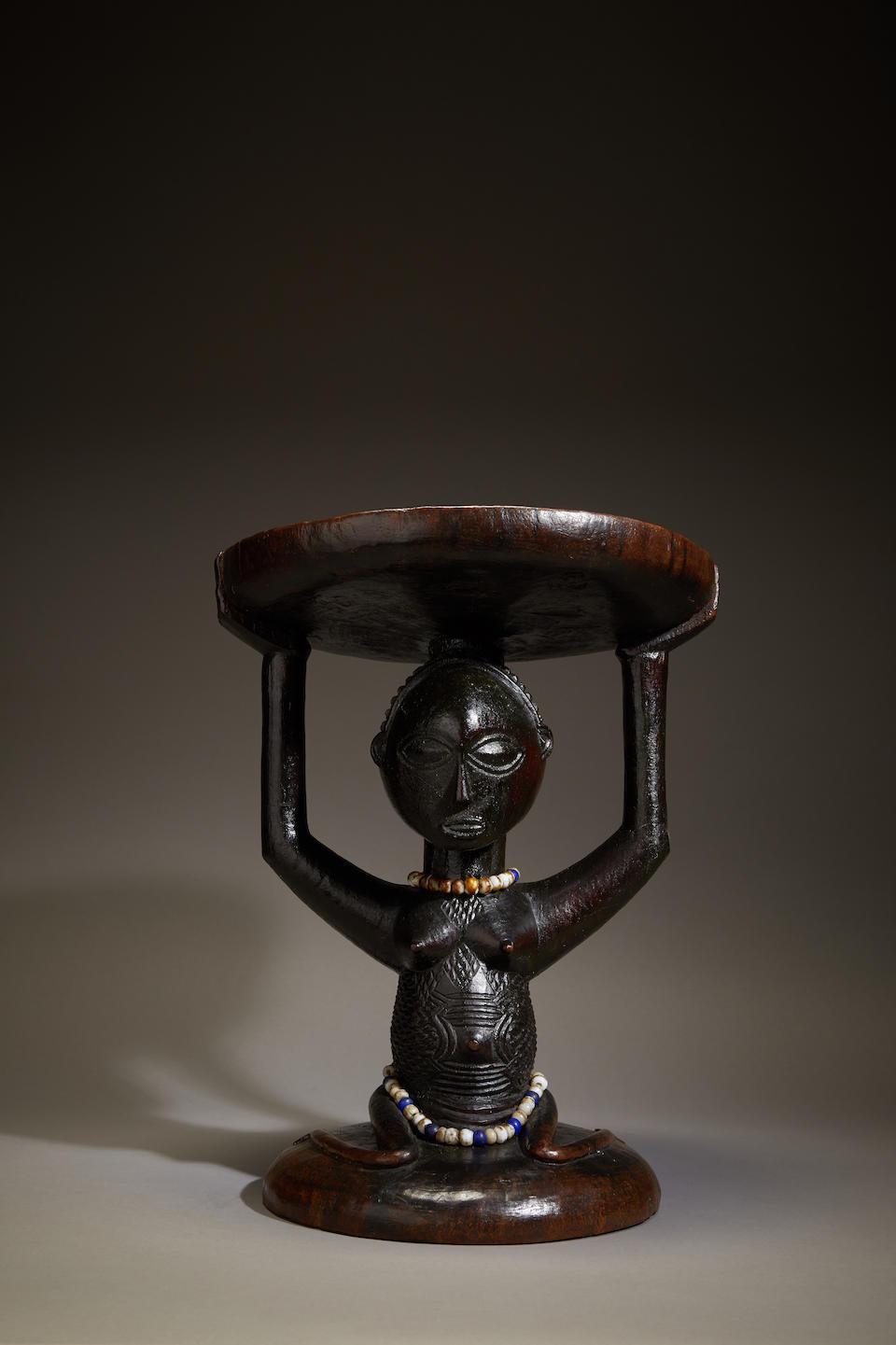 Superb Luba Female Caryatid Stool, Democratic Republic of the Congo