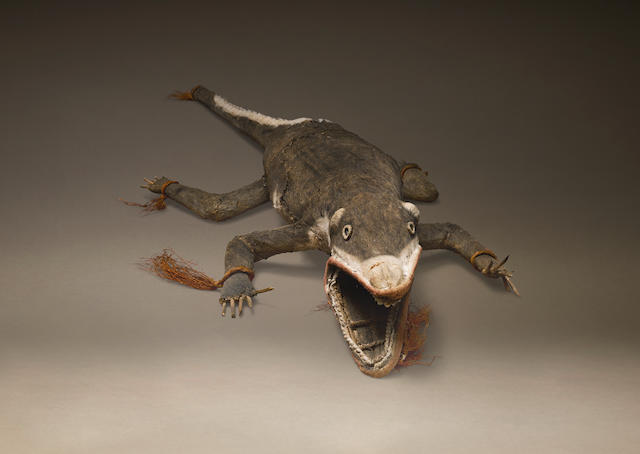 Lifesize Barkcloth Figure of a Crocodile, Gulf Region, Papua New Guinea