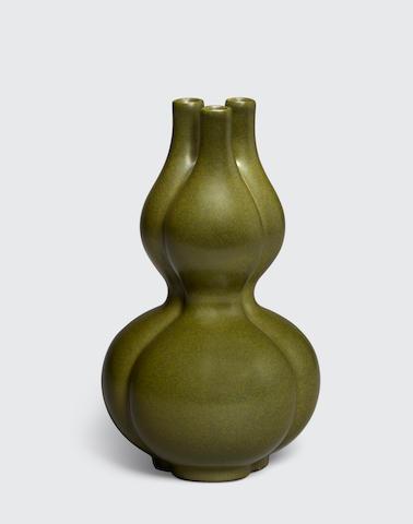 A tea dust glazed double-gourd three-necked vase  Qianlong mark