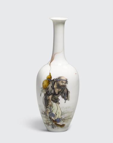 AN ENAMELED 'IMMORTAL' VASE Qianlong mark, Republic period