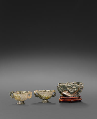 A group of three moss agate containers  Republic period