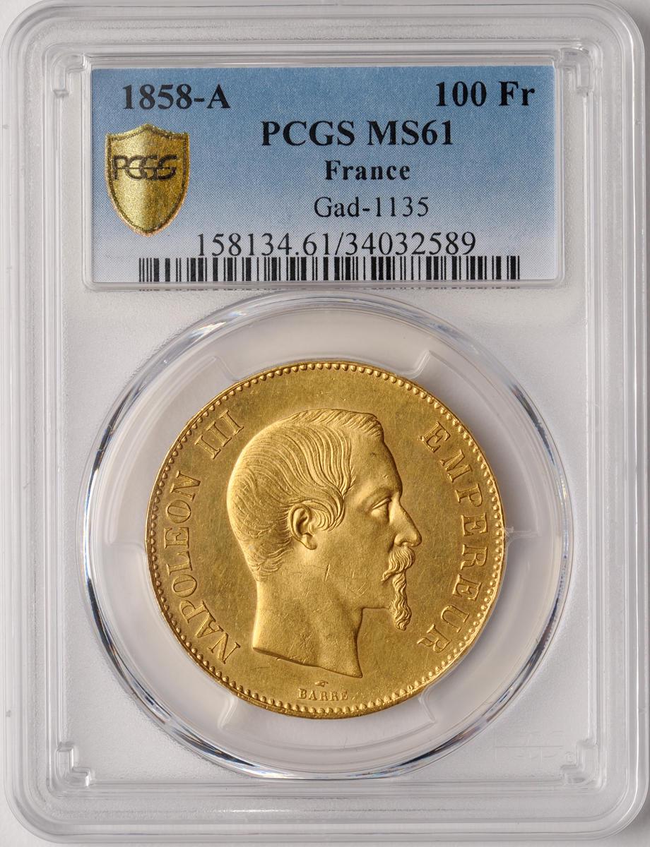 France, Napoleon III, Gold 100 Francs, 1858-A, MS61 PCGS