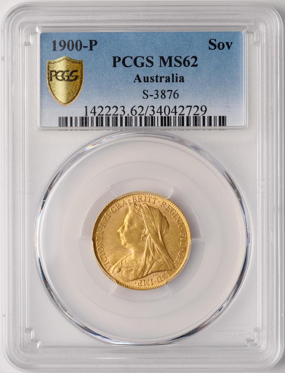 "Australia, Victoria, Sovereign, 1900-P, Veiled ""Old"" Head, MS62 PCGS"