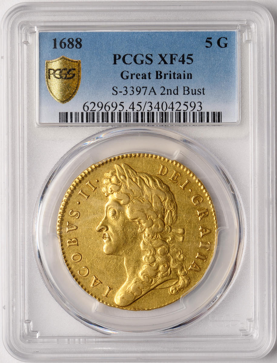 Great Britain, James II, Gold 5 Guineas, 1688, XF45 PCGS