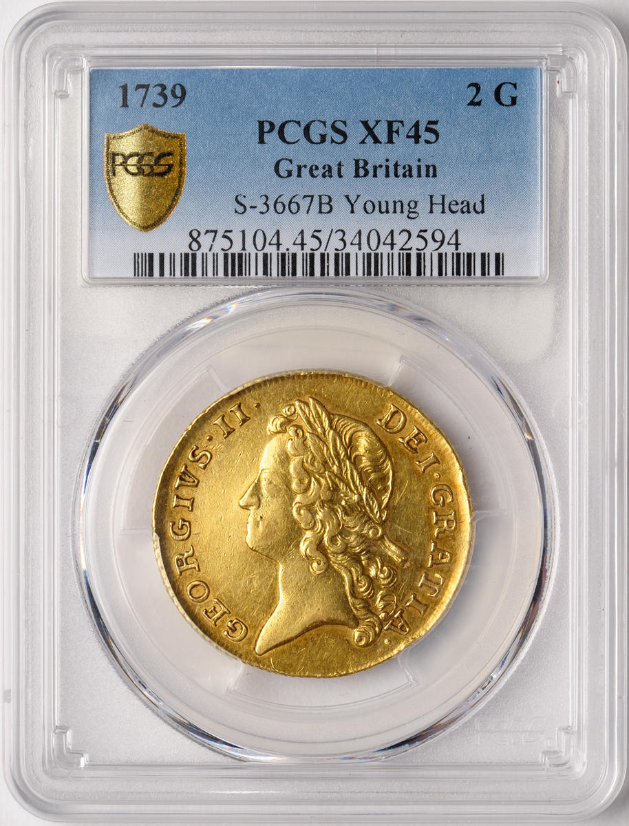 Great Britain, George II, Gold 2 Guineas, 1739, XF45 PCGS
