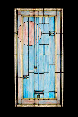 George Grant Elmslie (1871-1952) Leaded Glass Windowfor the Henry B. Babson House, circa 1907clear and polychrome glass, lead47 1/2in x 23 1/2in (121 x 60cm)