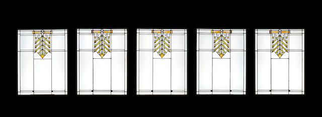 Frank Lloyd Wright (1867-1959)  Five Leaded Glass Windows for the Joseph Walser House1903polychrome, gold foil applied, and clear glass, leadeach window height 38in (96.5cm); width 29 1/2in (75cm)