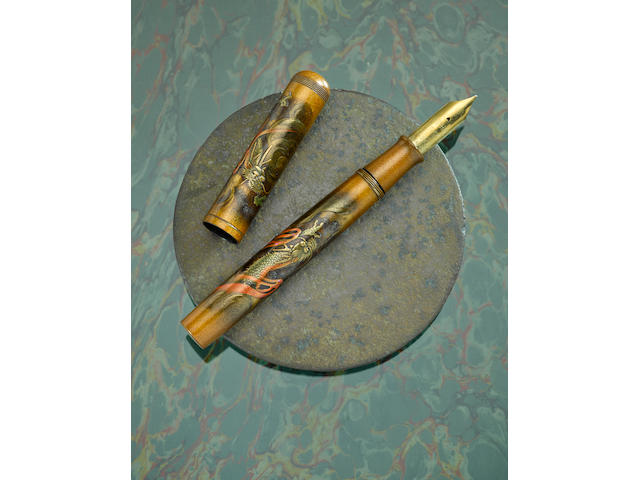 DUNHILL-NAMIKI: Rare and Exceptional Double Dragon Maki-e Fountain Pen, Signed by Shogo, Emperor Size, A-Grade, early 1930s