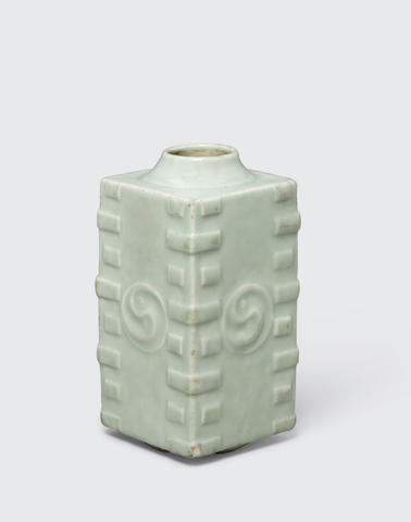 A celadon glazed cong form vase Late Qing/Republic period